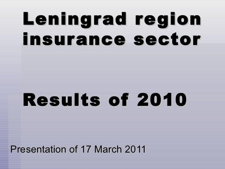 Presentation of 17 March 2011 Leningrad region insurance sector Results of 2010