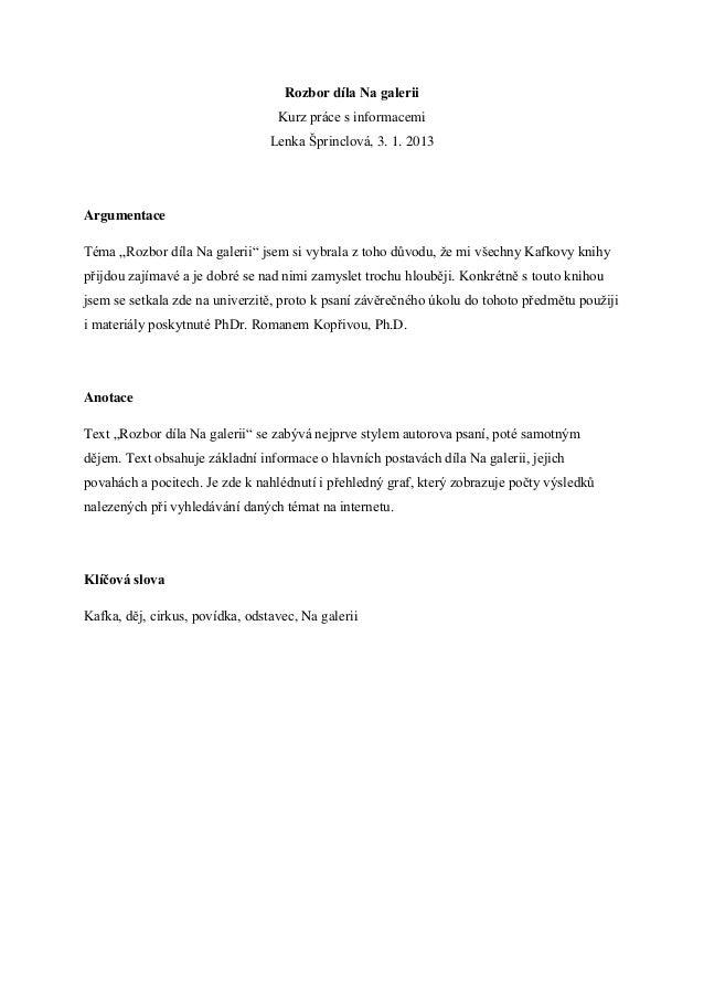 Rozbor díla Na galerii                                  Kurz práce s informacemi                                 Lenka Špr...