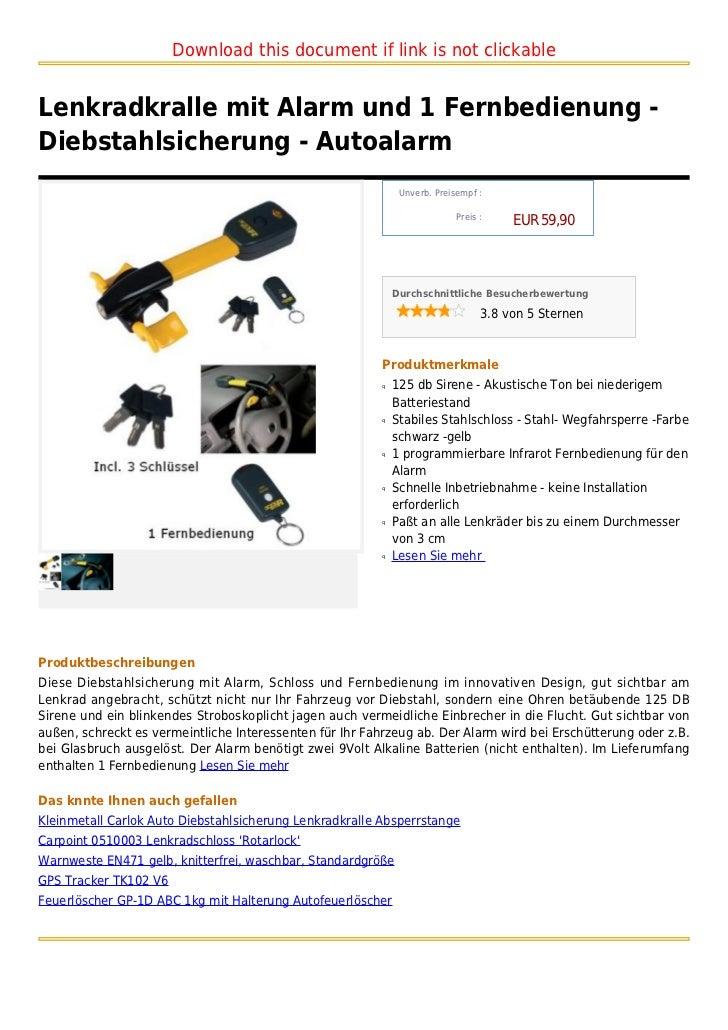 Download this document if link is not clickableLenkradkralle mit Alarm und 1 Fernbedienung -Diebstahlsicherung - Autoalarm...