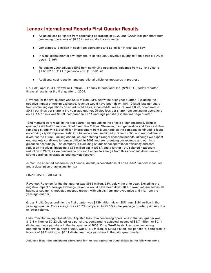 Q1 2009 Earning Report of Lennox International Inc.