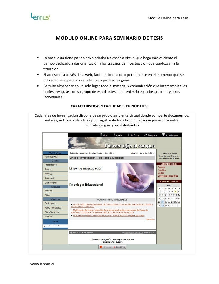 Módulo Online para Tesis                     MÓDULO ONLINE PARA SEMINARIO DE TESIS      •   La propuesta tiene por objetiv...