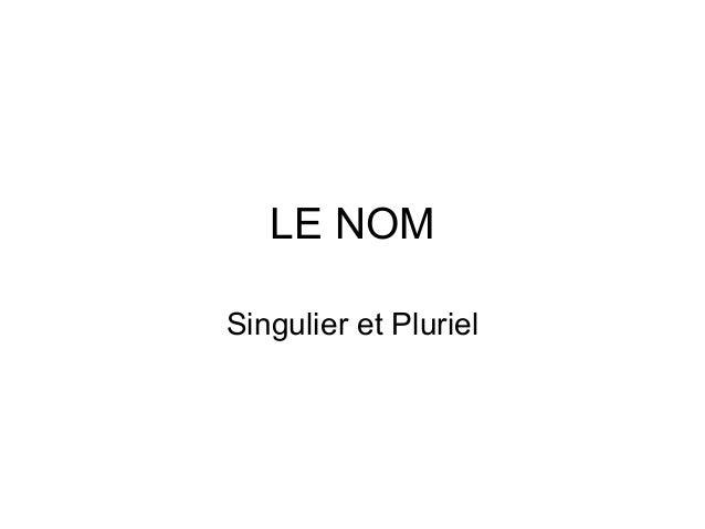 LE NOM Singulier et Pluriel