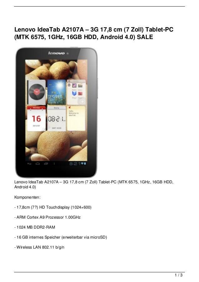Lenovo IdeaTab A2107A – 3G 17,8 cm (7 Zoll) Tablet-PC(MTK 6575, 1GHz, 16GB HDD, Android 4.0) SALELenovo IdeaTab A2107A – 3...