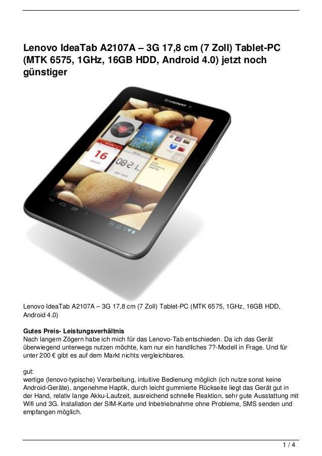 Lenovo IdeaTab A2107A – 3G 17,8 cm (7 Zoll) Tablet-PC(MTK 6575, 1GHz, 16GB HDD, Android 4.0) jetzt nochgünstigerLenovo Ide...