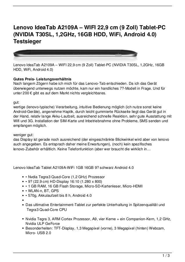 Lenovo IdeaTab A2109A – WIFI 22,9 cm (9 Zoll) Tablet-PC(NVIDIA T30SL, 1,2GHz, 16GB HDD, WiFi, Android 4.0)TestsiegerLenovo...