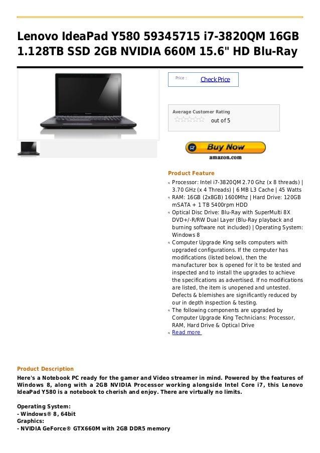 Lenovo idea pad y580 59345715 i7 3820qm 16gb 1.128tb ssd 2gb nvidia 660m 15.6  hd blu-ray