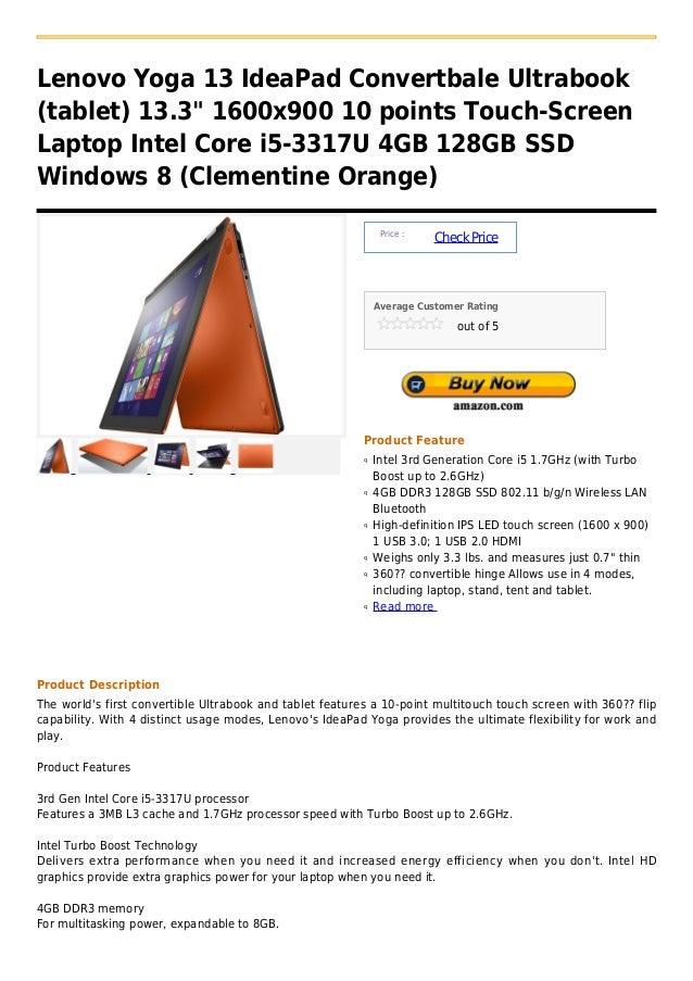 Lenovo yoga 13 idea pad convertbale ultrabook (tablet) 13.3  1600x900 10 points touch screen laptop intel