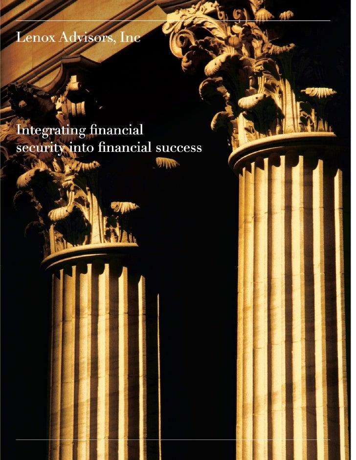 Lenox Advisors Corporate Brochure 2011