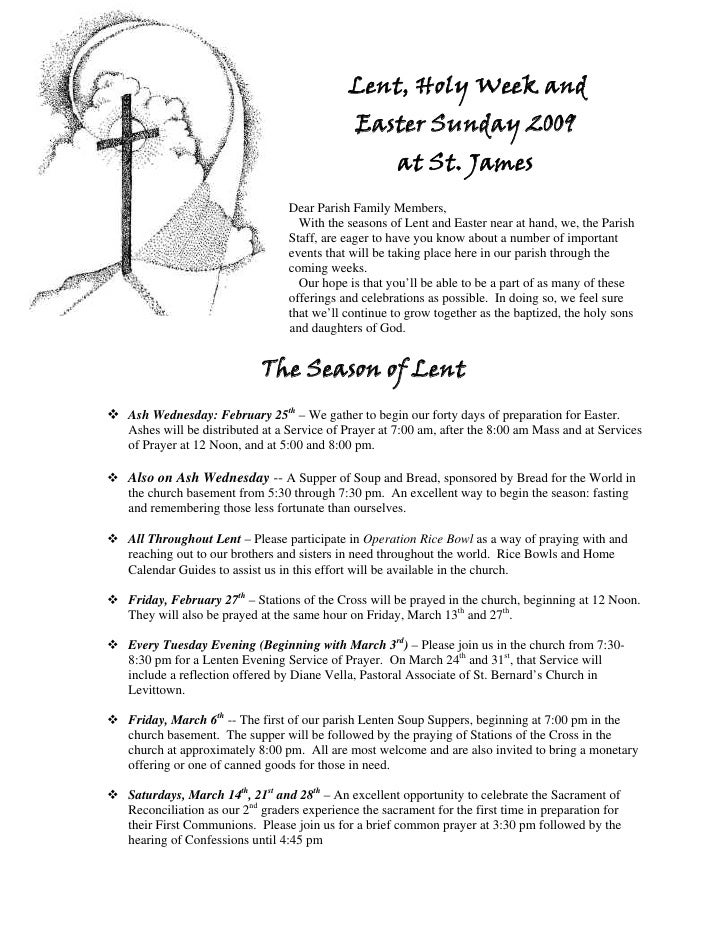 Lent, Holy Week and                                             Easter Sunday 2009                                        ...