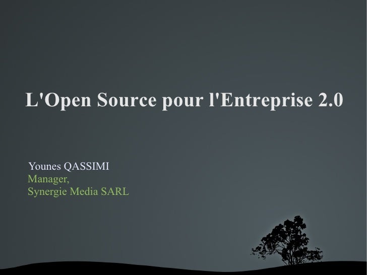 L'Open Source pour l'Entreprise 2.0   Younes QASSIMI Manager, Synergie Media SARL