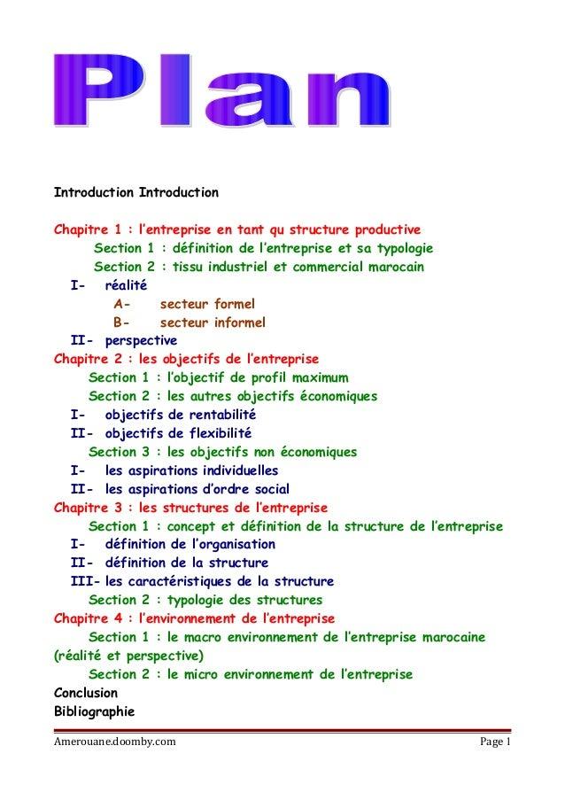 Introduction Introduction Chapitre 1 : l'entreprise en tant qu structure productive Section 1 : définition de l'entreprise...