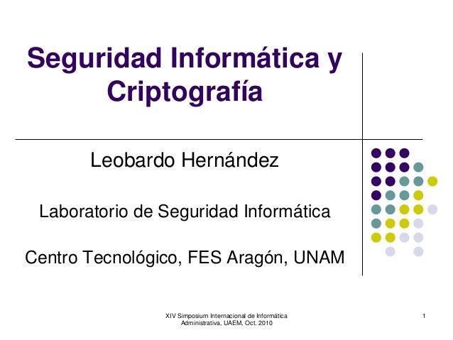 XIV Simposium Internacional de Informática Administrativa, UAEM, Oct. 2010 1 Seguridad Informática y Criptografía Leobardo...