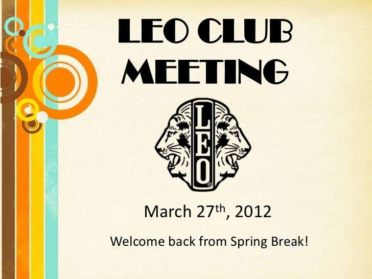 Leo Club Meeting:March 27 - ver2