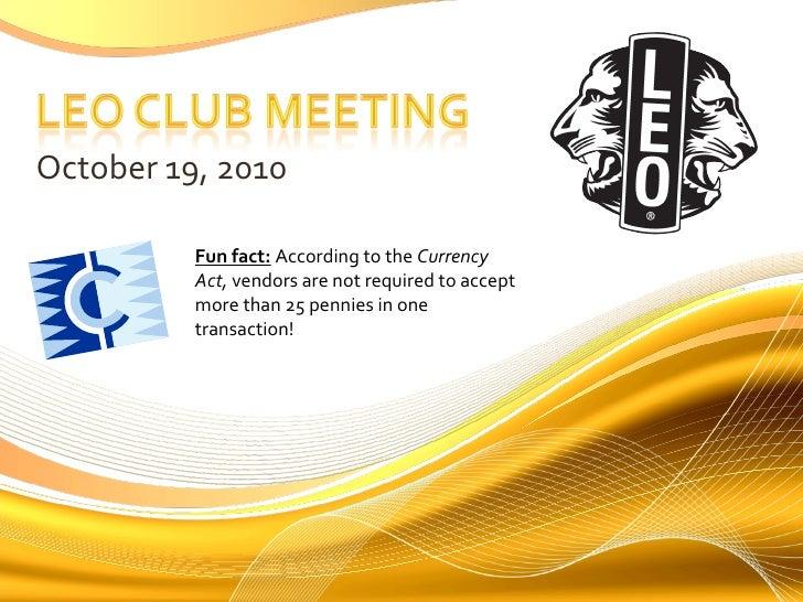 Oct. 19, 2010 Leo Meeting