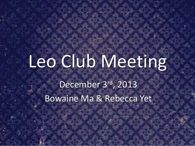 Leo meeting dec 3