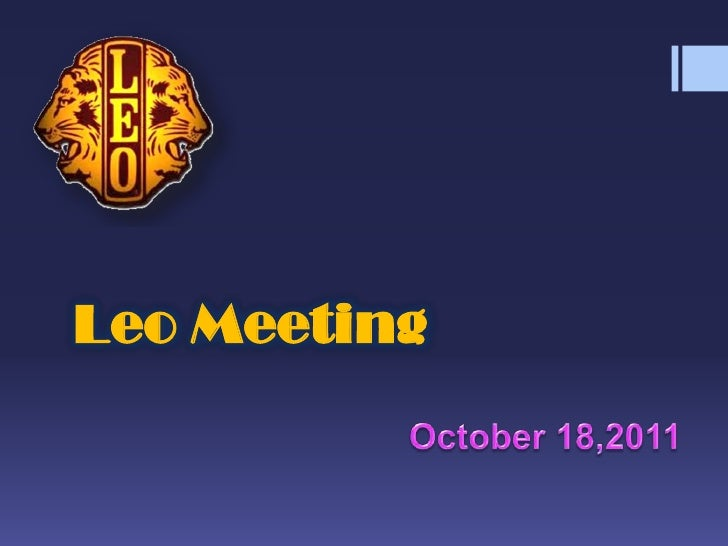Leo Meeting<br />October 18,2011<br />