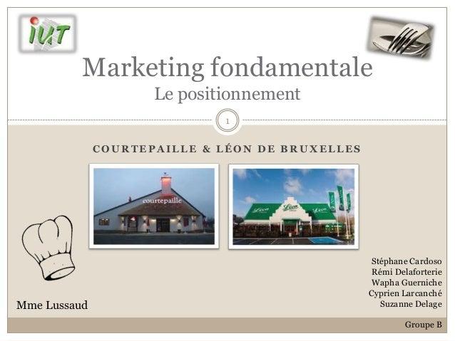 Marketing fondamentale                     Le positionnement                             1              COURTEPAILLE & LÉO...