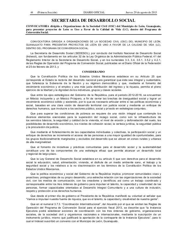 44  (Primera Sección)  DIARIO OFICIAL  Jueves 29 de agosto de 2013  SECRETARIA DE DESARROLLO SOCIAL CONVOCATORIA dirigida ...