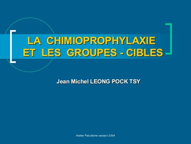 LA CHIMIOPROPHYLAXIEET LES GROUPES - CIBLES     Jean Michel LEONG POCK TSY          Atelier Paludisme session 2004