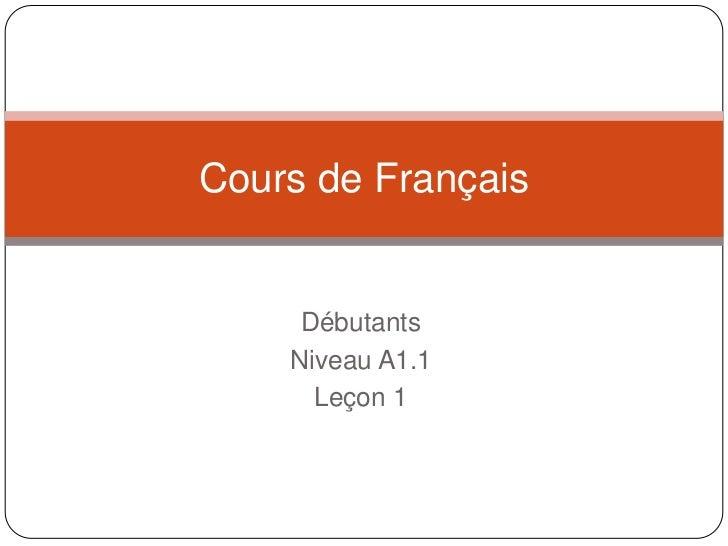 Débutants<br />Niveau A1.1<br />Leçon 1<br />Cours de Français<br />