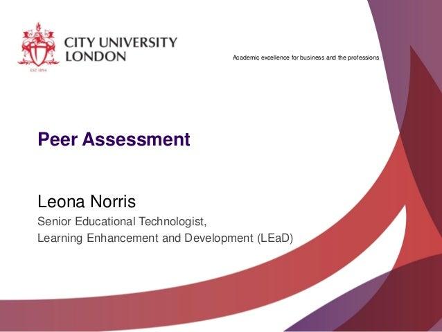 Peer assessment in Moodle - Leona Norris, Alison Sands, Helen Young, Caroline McNabb