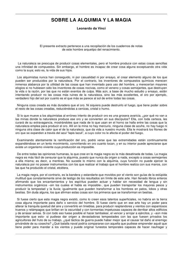 SOBRE LA ALQUIMIA Y LA MAGIA                                                Leonardo da Vinci                       El pre...