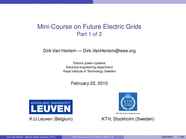 Mini-Course on Future Electric Grids                                                           Part 1 of 2                ...