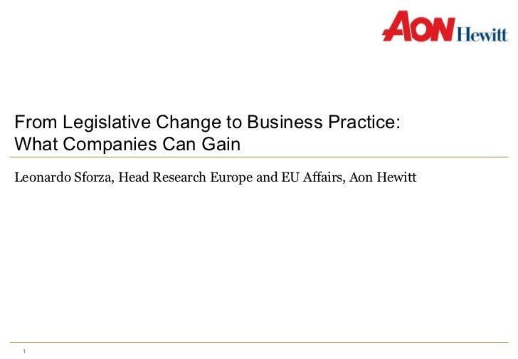 From Legislative Change to Business Practice:  What Companies Can Gain Leonardo Sforza, Head Research Europe and EU Affair...
