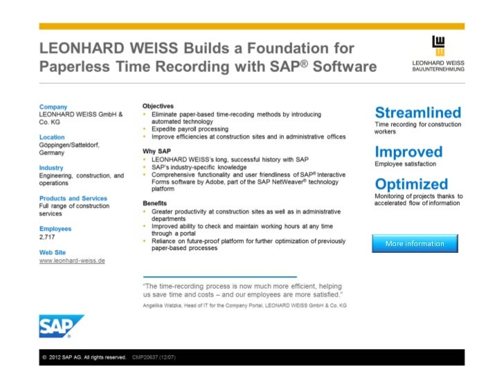 Leonard Weiss Builds a Foundation for Paperless Time Recording
