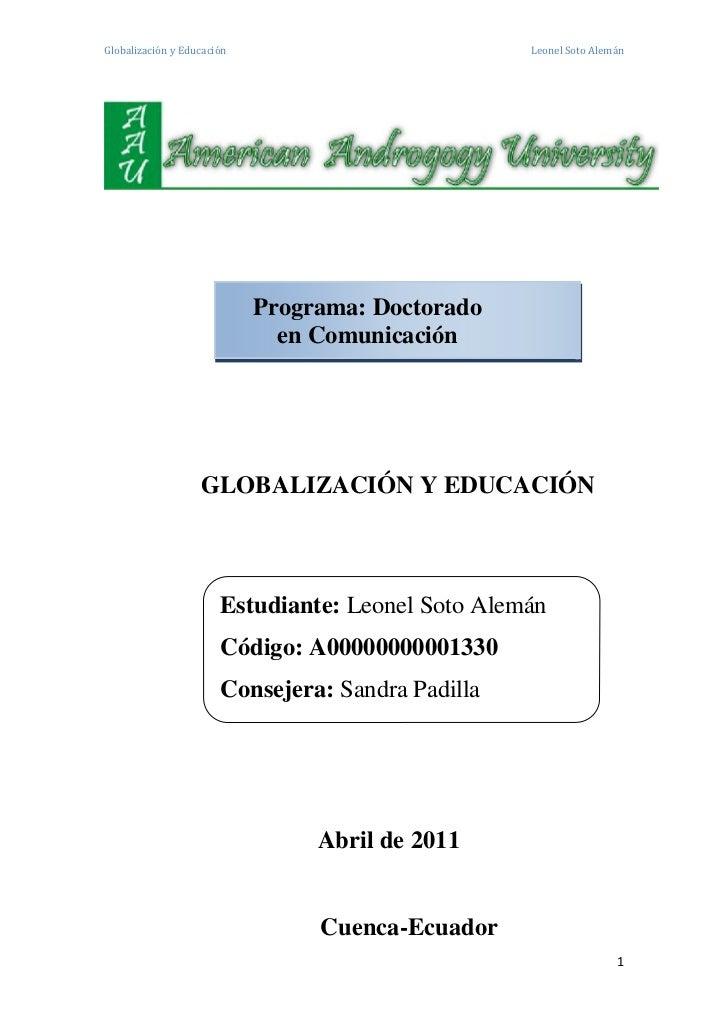 Globalización y Educación                          Leonel Soto Alemán                            Programa: Doctorado      ...