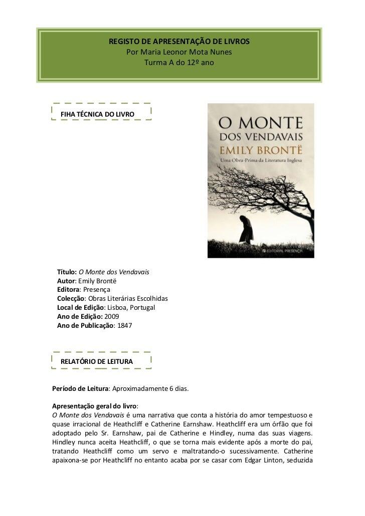 REGISTO DE APRESENTAÇÃO DE LIVROS                      Por Maria Leonor Mota Nunes                           Turma A do 12...