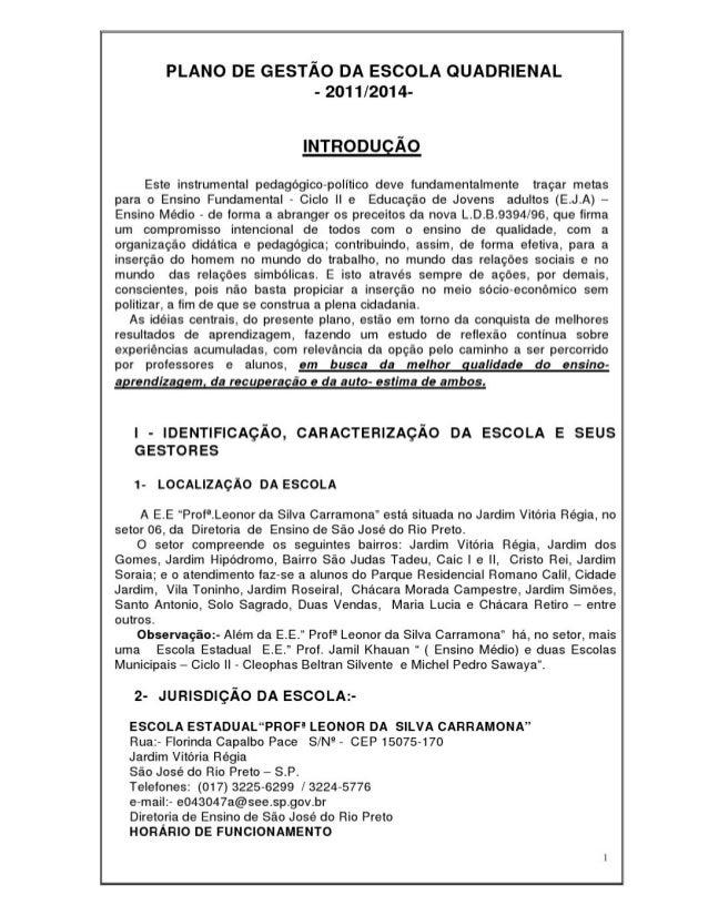 Plano Gestão EE Profª Leonor da Silva Carramona