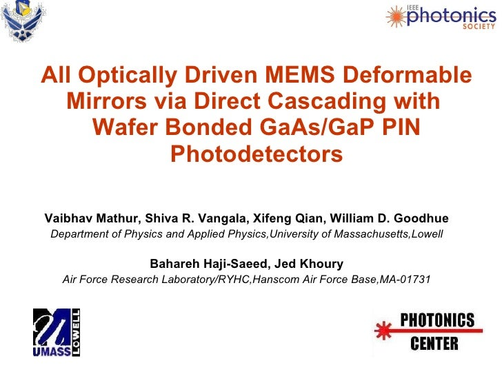 All Optically Driven MEMS Deformable Mirrors via Direct Cascading with  Wafer Bonded GaAs/GaP PIN Photodetectors <ul><li>V...