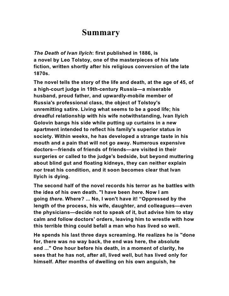 Leo tolstoy  the death of ivan ilyich (summary)