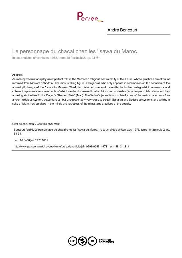 André Boncourt  Le personnage du chacal chez les 'isawa du Maroc. In: Journal des africanistes. 1978, tome 48 fascicule 2....
