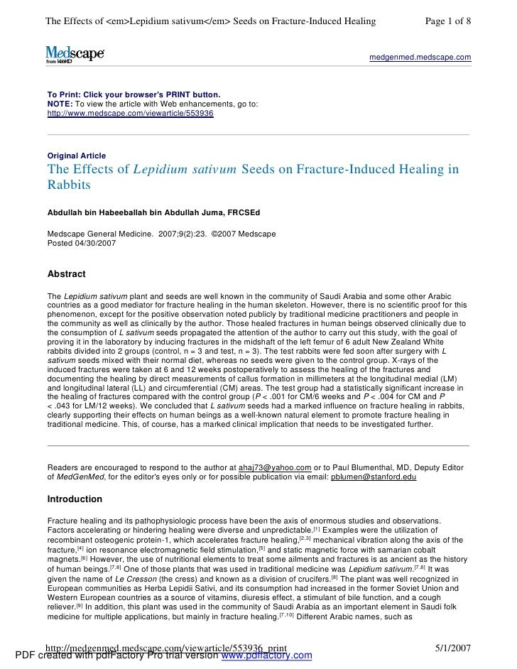 The Effects of <em>Lepidium sativum</em> Seeds on Fracture-Induced Healing                                  Page 1 of 8   ...