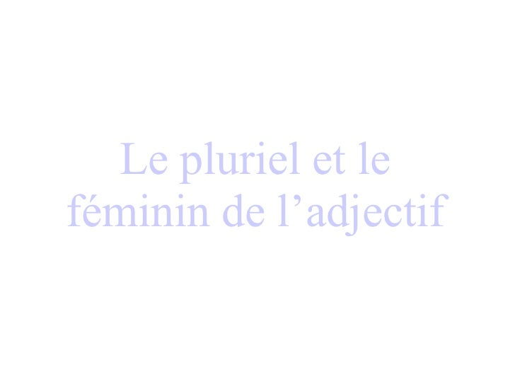 Le pluriel et le féminin de l'adjectif