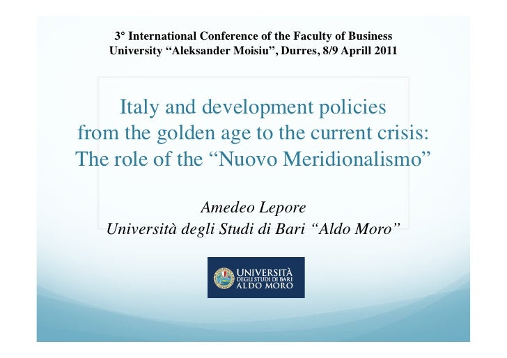"""3° International Conference of the Faculty of Business    University """"Aleksander Moisiu"""", Durres, 8/9 Aprill 2011     It..."""