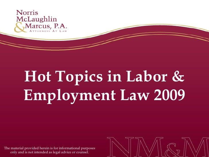 Hot Topics in Labor & Employment Law 2009 The material provided herein is for informational purposes only and is not inten...