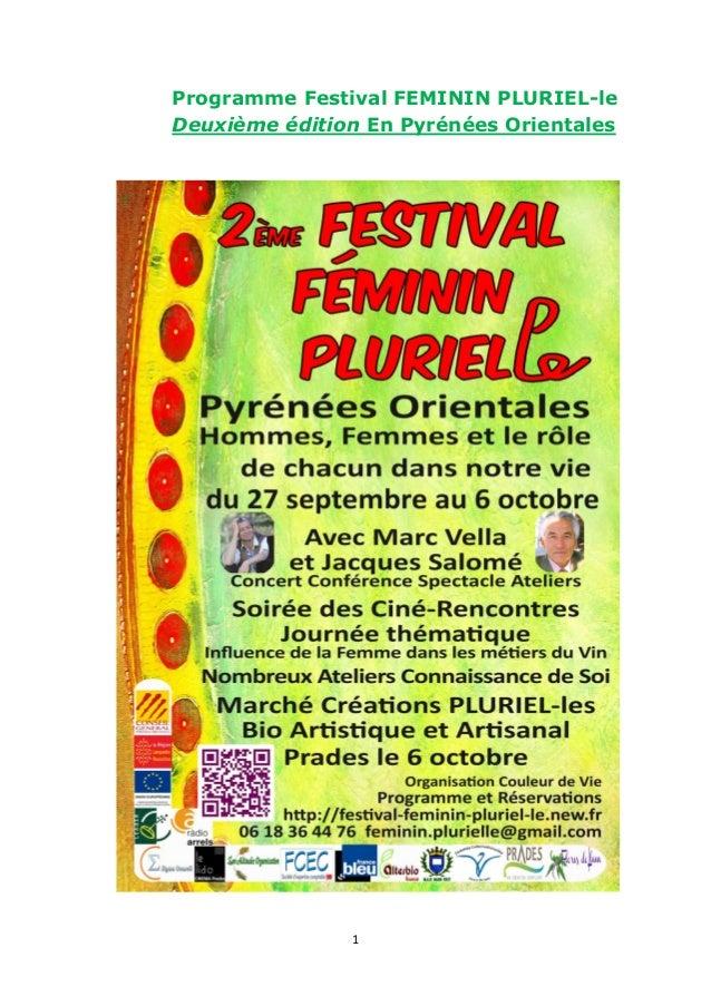 1 Programme Festival FEMININ PLURIEL-le Deuxième édition En Pyrénées Orientales