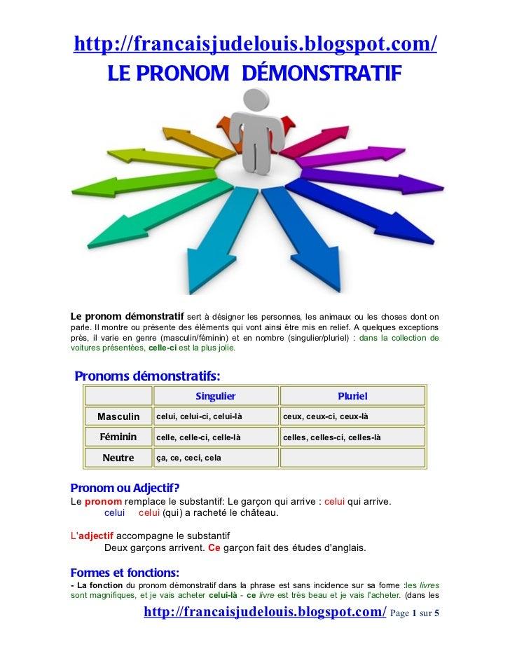http://francaisjudelouis.blogspot.com/    LE PRONOM DÉMONSTRATIFLe pronom démonstratif sert à désigner les personnes, les ...