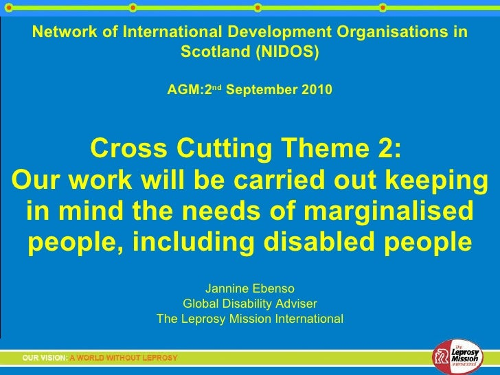 Cross Cutting Theme 2:  Our work will be carried out keeping in mind the needs of marginalised people, including disabled ...