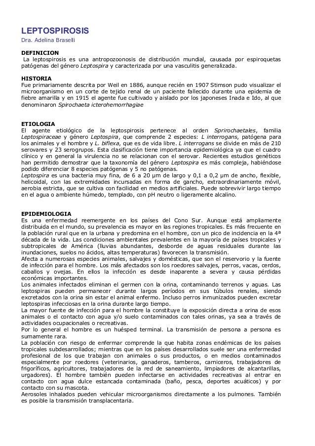 LEPTOSPIROSISDra. Adelina BraselliDEFINICIONLa leptospirosis es una antropozoonosis de distribución mundial, causada por e...