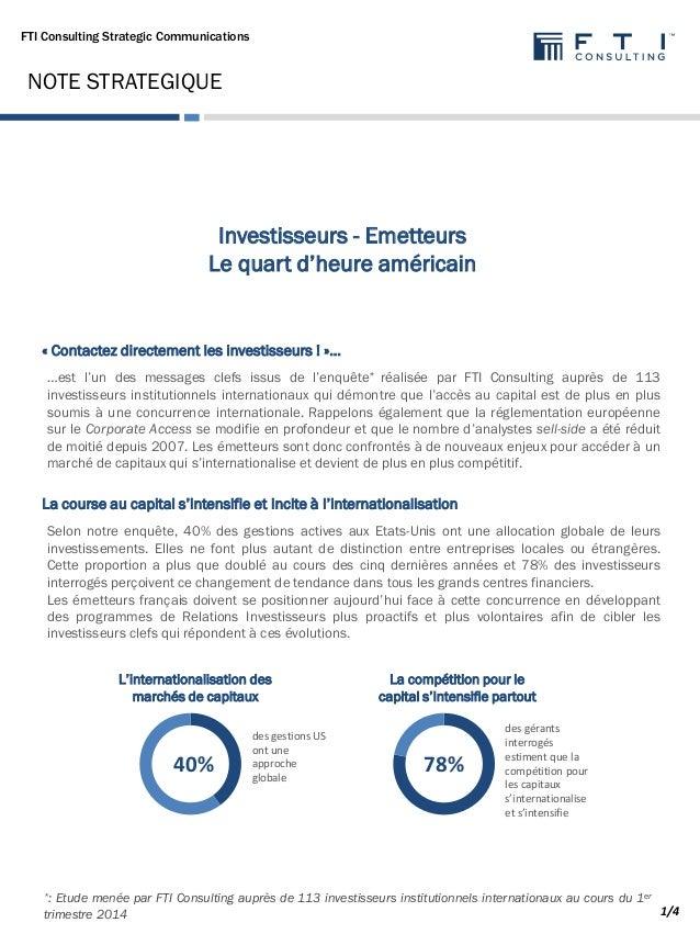 FTI Consulting Strategic Communications …est l'un des messages clefs issus de l'enquête* réalisée par FTI Consulting auprè...