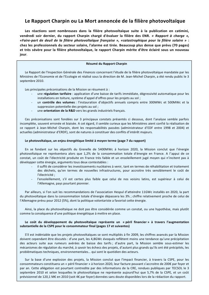 Le rapport charpin_ou_la_mort_annoncee_de_la_filiere_photovoltaique