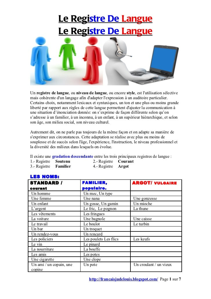 Le registre de langue