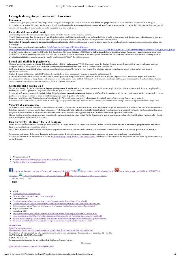 19/12/12                                                        Le regole per la creazione di un sito web di successo    L...