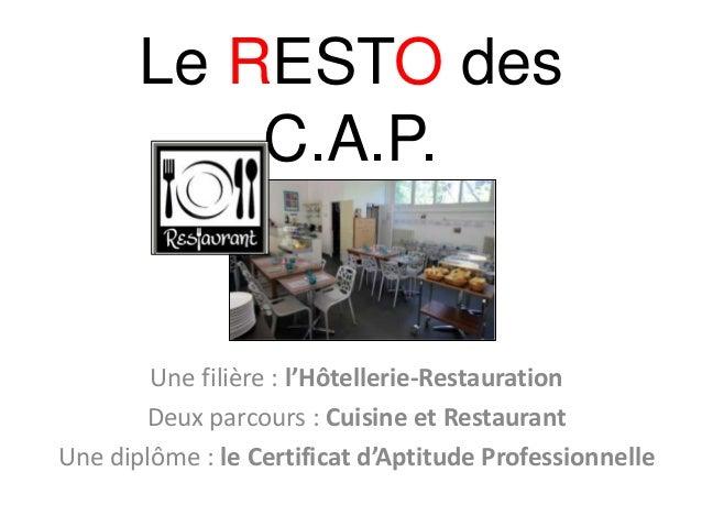 Le RESTO des C.A.P. Une filière : l'Hôtellerie-Restauration Deux parcours : Cuisine et Restaurant Une diplôme : le Certifi...