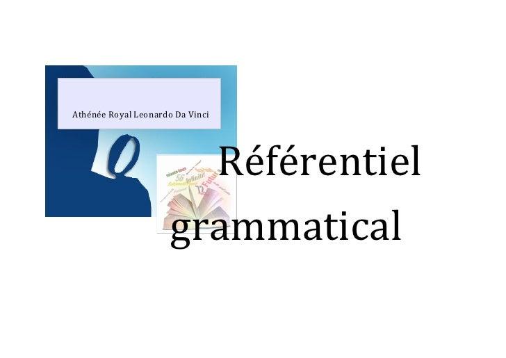 Le référentiel grammatical