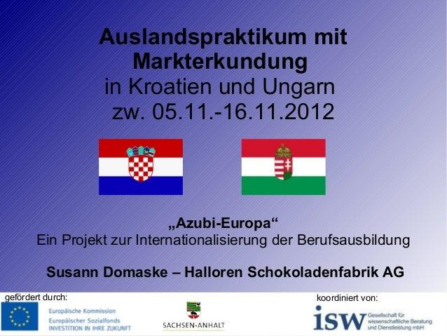 """Auslandspraktikum mit Markterkundung in Kroatien und Ungarn zw. 05.11.-16.11.2012  """"Azubi-Europa"""" Ein Projekt zur Internat..."""